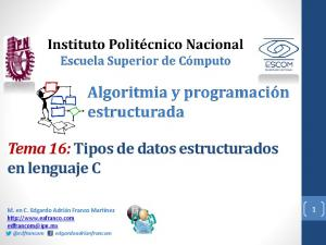 Tema 16: Tipos de datos estructurados en lenguaje C