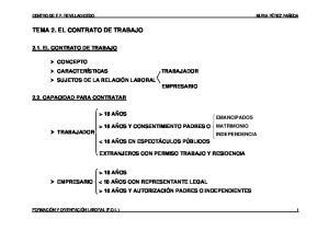 TEMA 2. EL CONTRATO DE TRABAJO
