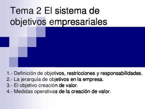 Tema 2 El sistema de objetivos empresariales