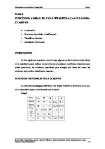 Tema 2. FUNCIONES, VARIABLES Y CARPETAS EN LA CALCULADORA CLASSPAD