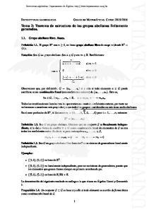 Tema 2: Teorema de estructura de los grupos abelianos finitamente generados
