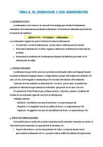 TEMA 3: EL ORDENADOR Y SUS COMPONENTES