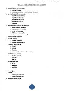 TEMA 3: LOS MATERIALES. LA MADERA
