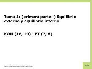 Tema 3: (primera parte: ) Equilibrio externo y equilibrio interno KOM (18, 19) : FT (7, 8)