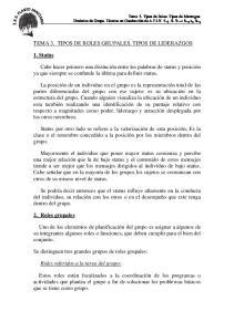 TEMA 3. TIPOS DE ROLES GRUPALES. TIPOS DE LIDERAZGOS