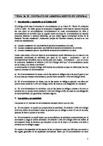 TEMA 30. EL CONTRATO DE ARRENDAMIENTO EN GENERAL