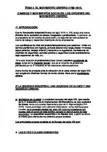 TEMA 4. EL MOVIMIENTO OBRERO ( ). CAMBIOS Y MOVIMIENTOS SOCIALES: LOS ORÍGENES DEL MOVIMIENTO OBRERO