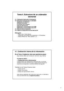 Tema 4. Estructura de un ordenador elemental