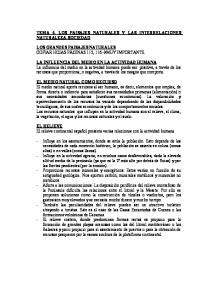 TEMA 4. LOS PAISAJES NATURALES Y LAS INTERRELACIONES NATURALEZA-SOCIEDAD