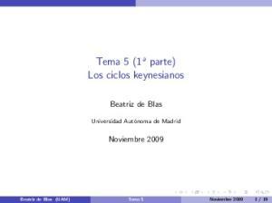 Tema 5 (1 a parte) Los ciclos keynesianos