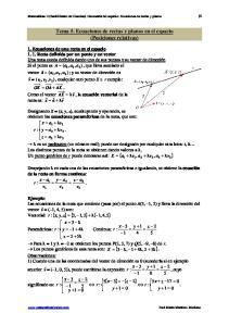 Tema 5. Ecuaciones de rectas y planos en el espacio (Posiciones relativas)