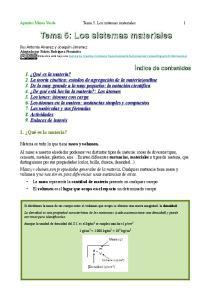 Tema 5: Los sistemas materiales. Tema 5. Los sistemas materiales
