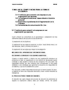 TEMA 5. META- COMPETENCIAS PARA LA TOMA DE DECISIONES