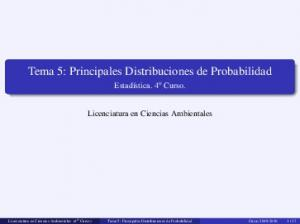 Tema 5: Principales Distribuciones de Probabilidad