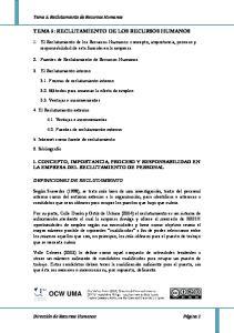 TEMA 5: RECLUTAMIENTO DE LOS RECURSOS HUMANOS