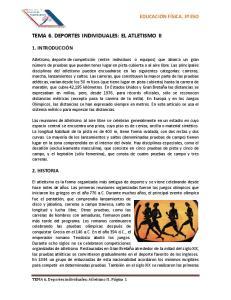TEMA 6. DEPORTES INDIVIDUALES: EL ATLETISMO II