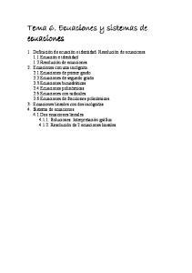 Tema 6. Ecuaciones y sistemas de ecuaciones