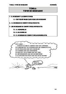 TEMA 6: TIPOS DE MERCADOS