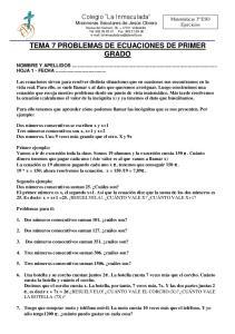 TEMA 7 PROBLEMAS DE ECUACIONES DE PRIMER GRADO