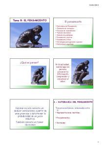 Tema 8: EL PENSAMIENTO El pensamiento