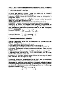 TEMA 8: REACCIONES REDOX O DE TRANSFERENCIA DE ELECTRONES