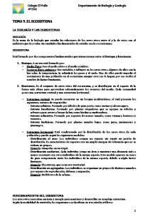 TEMA 9. EL ECOSISTEMA