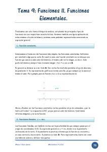 Tema 9: Funciones II. Funciones Elementales