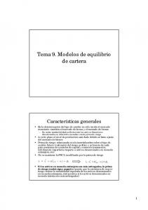 Tema 9. Modelos de equilibrio de cartera