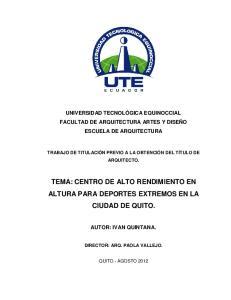 TEMA: CENTRO DE ALTO RENDIMIENTO EN ALTURA PARA DEPORTES EXTREMOS EN LA CIUDAD DE QUITO