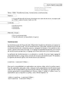 Tema: CSS3: Transformaciones, transiciones y animaciones