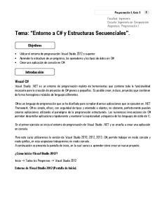 Tema: Entorno a C# y Estructuras Secuenciales