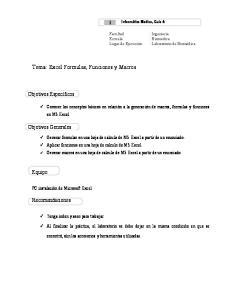 Tema: Excel Formulas, Funciones y Macros