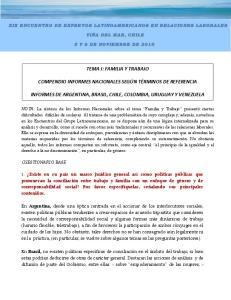 TEMA I: FAMILIA Y TRABAJO COMPENDIO INFORMES NACIONALES SEGÚN TÉRMINOS DE REFERENCIA