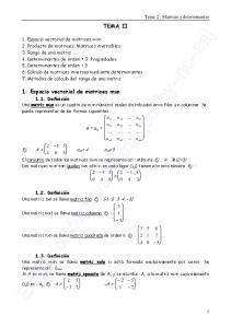 TEMA II. Tema 2 : Matrices y determinantes