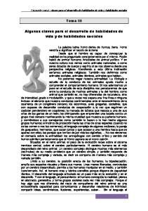 Tema III. Algunas claves para el desarrollo de habilidades de vida y de habilidades sociales