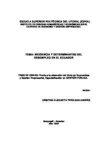 TEMA: INCIDENCIA Y DETERMINANTES DEL DESEMPLEO EN EL ECUADOR