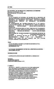 TEMA LEY DE TRANSITO-TRANSITO AUTOMOTOR-SEGURIDAD VIAL- CONSEJOS PROVINCIALES DE SEGURIDAD VIAL