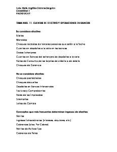 TEMA NRO. 11- CUENTAS DE EFECTIVO Y OPERACIONES EN BANCOS