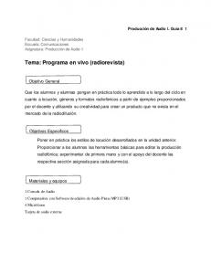 Tema: Programa en vivo (radiorevista)