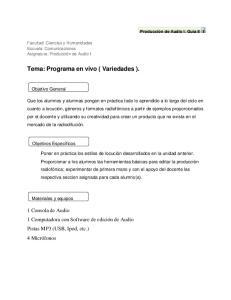 Tema: Programa en vivo ( Variedades )