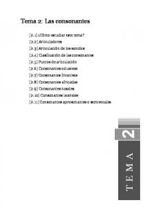TEMA. Tema 2: Las consonantes