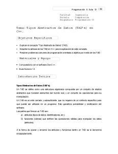 Tema: Tipos Abstractos de Datos (TAD s) en C++