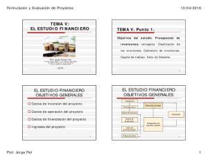 TEMA V: EL ESTUDIO FINANCIERO EL ESTUDIO FINANCIERO OBJETIVOS GENERALES. TEMA V. Punto 1. EL ESTUDIO FINANCIERO OBJETIVOS GENERALES