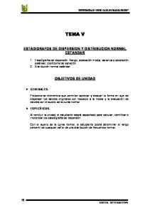 TEMA V ESTADIGRAFOS DE DISPERSION Y DISTRIBUCION NORMAL ESTANDAR