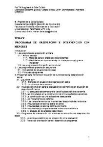 TEMA V: PROGRAMAS DE ORIENTACION E INTERVENCION CON MENORES