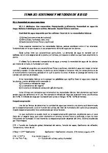 TEMA XI: SISTEMAS Y METODOS DE RIEGO