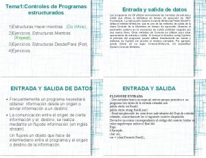 Tema1:Controles de Programas estructurados. Entrada y salida de datos ENTRADA Y SALIDA DE DATOS ENTRADA Y SALIDA