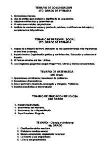 TEMARIO DE COMUNICACION 5TO. GRADO DE PRIMARIA TEMARIO DE PERSONAL SOCIAL 5TO. GRADO DE PRIMARIA. TEMARIO DE MATEMATICA 5TO Grado