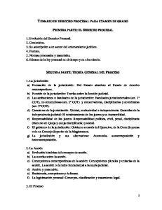 TEMARIO DE DERECHO PROCESAL PARA EXAMEN DE GRADO