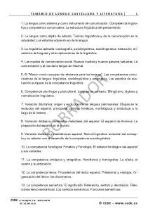 TEMARIO DE LENGUA CASTELLANA Y LITERATURA 1